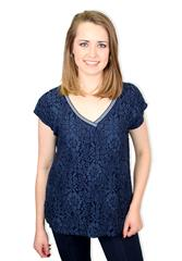 MADE IN ITALY NAVY LACE TOP