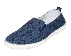 JOLIE NAVY FLORAL DENIM PRINT LEATHER SNEAKER