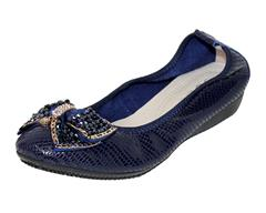 JOLIE NAVY BLING- BOW LEATHER PUMP
