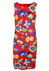 JOLIE RED MULTI PRINTED SHIFT DRESS