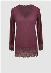 MADE IN ITALY CHERRY LACE LONG SLEEVE TOP