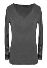 MADE IN ITALY CHARCOAL BASIC LONG SLEEVE TOP