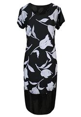 MADE IN ITALY BLACK WHITE FLORAL DRESS