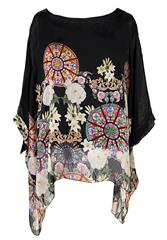 MADE IN ITALY BLACK PRINT BLOUSE