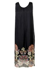 MADE IN ITALY BLACK LONG PRINT DRESS