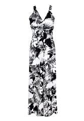 JOLIE BAM BAM WHITE BLACK LONG DRESS