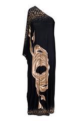 JOLIE BAM BAM BEIGE BLACK OFF SHOULDER DRESS