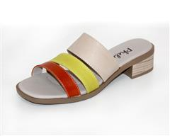 PHELAN ORANGE YELLOW THREE STRAP MULE