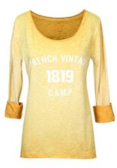 MADE IN ITALY YELLOW LONG SLEEVE PRINT TOP