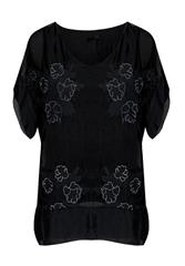 MADE IN ITALY BLACL FLOWER EMBROIDERY BLOUSE