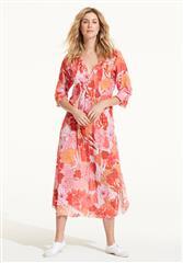 ONESEASON CORAL VALENCIA LONG POPPY DRESS