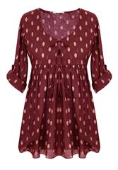 MADE IN ITALY MAROON SPOT BLOUSE