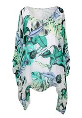 MADE IN ITALY GREEN MULTI LEAF PRINT BLOUSE