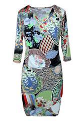MADE IN ITALY GREEN MULTI MOCK-WRAP DRESS
