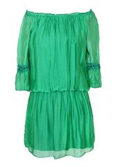 MADE IN ITALY LIME SILKY SHORT DRESS