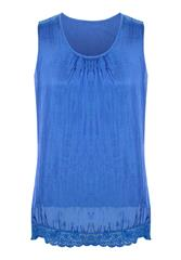 MADE IN ITALY BLUE SILKY BLOUSE WITH LACE DETAIL