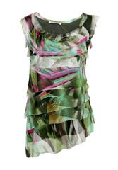 MADE IN ITALY GREEN MULTI FRILL TOP