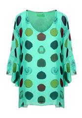 MADE IN ITALY GREEN POLKA BLOUSE