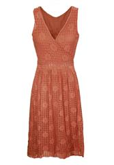 MADE IN ITALY RUST LACE DETAIL DRESS