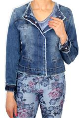 MADE IN ITALY BLUE RUFFLE DENIM JACKET