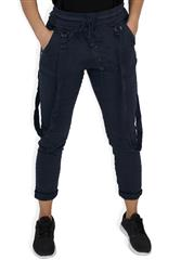 MADE IN ITALY NAVY SUSPENDER PANTS