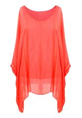 MADE IN ITALY RUST SILKY TOP WITH SLEEVES