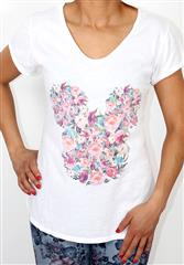 MADE IN ITALY WHITE FLORAL DETAIL T-SHIRT