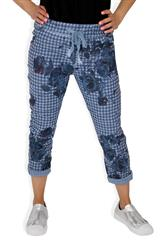 MADE IN ITALY NAVY HOUNDSTOOTH FLORAL TROUSERS