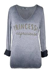MADE IN ITALY GREY PRINCESSE LONG SLEEVE TOP