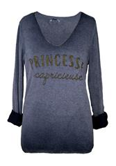 MADE IN ITALY NAVY PRINCESSE LONG SLEEVE TOP