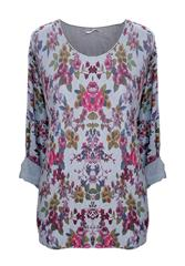 MADE IN ITALY FLORAL GREY MULTI LONG SLEEVE TOP
