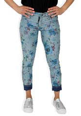 MADE IN ITALY BLUE FLORAL MULTI COLOUR REVERSIBLE JEANS