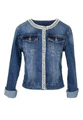 MADE IN ITALY BLUE PEARL DETAIL DENIM JACKET