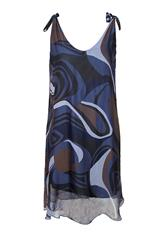 MADE IN ITALY NAVY PRINTED SILKY DRESS