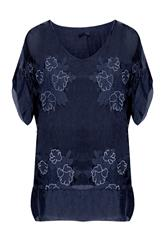 MADE IN ITALY NAVY FLOWER EMBROIDERY BLOUSE