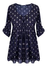 MADE IN ITALY NAVY SPOT BLOUSE