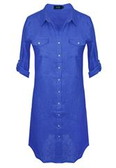 JOLIE BLUE LINEN SHIRT DRESS