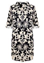JOLIE BLACK MULTI FLORAL PRINT LINEN SHIRT DRESS