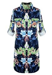 JOLIE GREEN BLUE FLORAL PRINTED SHIRT DRESS