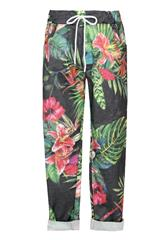 MADE IN ITALY GREEN MULTI FLORAL PRINT DRAWSTRING PANTS