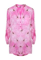 MADE IN ITALY PINK MULTI GIRAFFE PRINT BLOUSE