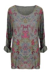 MADE IN ITALY GREEN FLORAL PRINT LONG SLEEVE TOP
