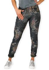 MADE IN ITALY MULTI COLOUR LEAVE PRINT REVERSIBLE JEANS