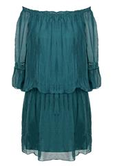 MADE IN ITALY EMERALD SILKY SHORT DRESS