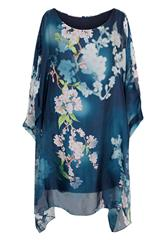 MADE IN ITALY BLUE MULTI FLORAL PRINT DRESS