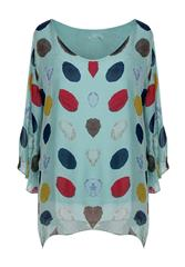 MADE IN ITALY MINT POLKA DOT BLOUSE