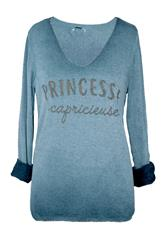 MADE IN ITALY TEAL PRINCESSE LONG SLEEVE TOP