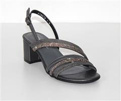 FROGGIE PEWTER DIAMANTE DETAIL BLOCK HEEL SANDAL - 11898