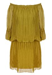 MADE IN ITALY MUSTARD SILKY SHORT DRESS