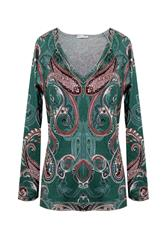 MADE IN ITALY GREEN MULTI PAISLEY TOP